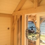 Corner Exposed Oak Post and Brace in New Build Oak Framed Summerhouse in Devon by Carpenter Oak Ltd