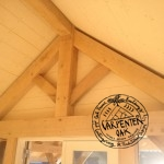 Green Oak Timber Frame King Post Truss Detail in Oak Framed Garden Room and Office by Carpenter Oak Ltd Devon