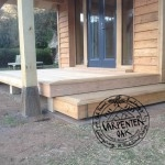 Oak Post on Staddle Stone and Timber Decking Detail on New Build Oak Timber Framed Garden Room