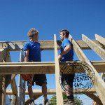 Hand building an oak framed roof