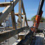 Queen post oak frame truss and crane