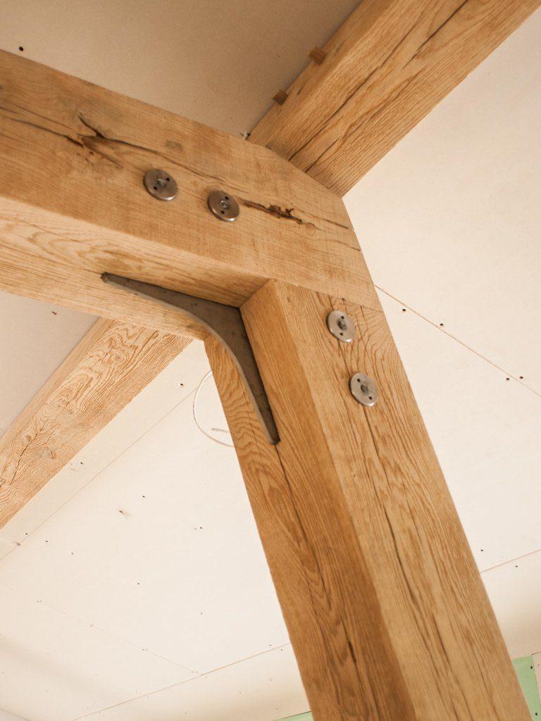 Oak and steel joints in a modern oak frame
