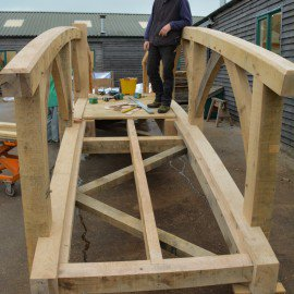 Wooden oak garden bridge in the Carpenter Oak yard