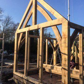 new garden room oak frame being built