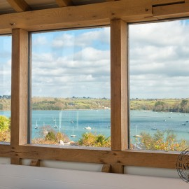 oak frame window, panoramic views, river dart