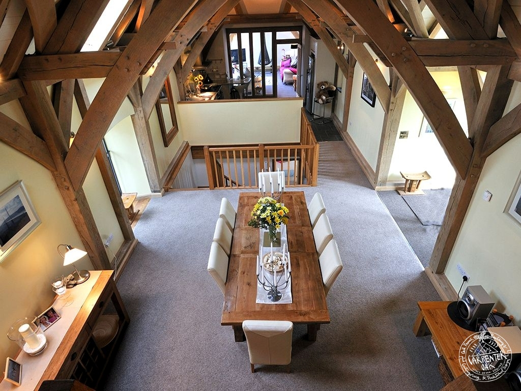 Interior of Green Oak Framed Barn Conversion in Devon by Carpenter Oak Ltd Devon