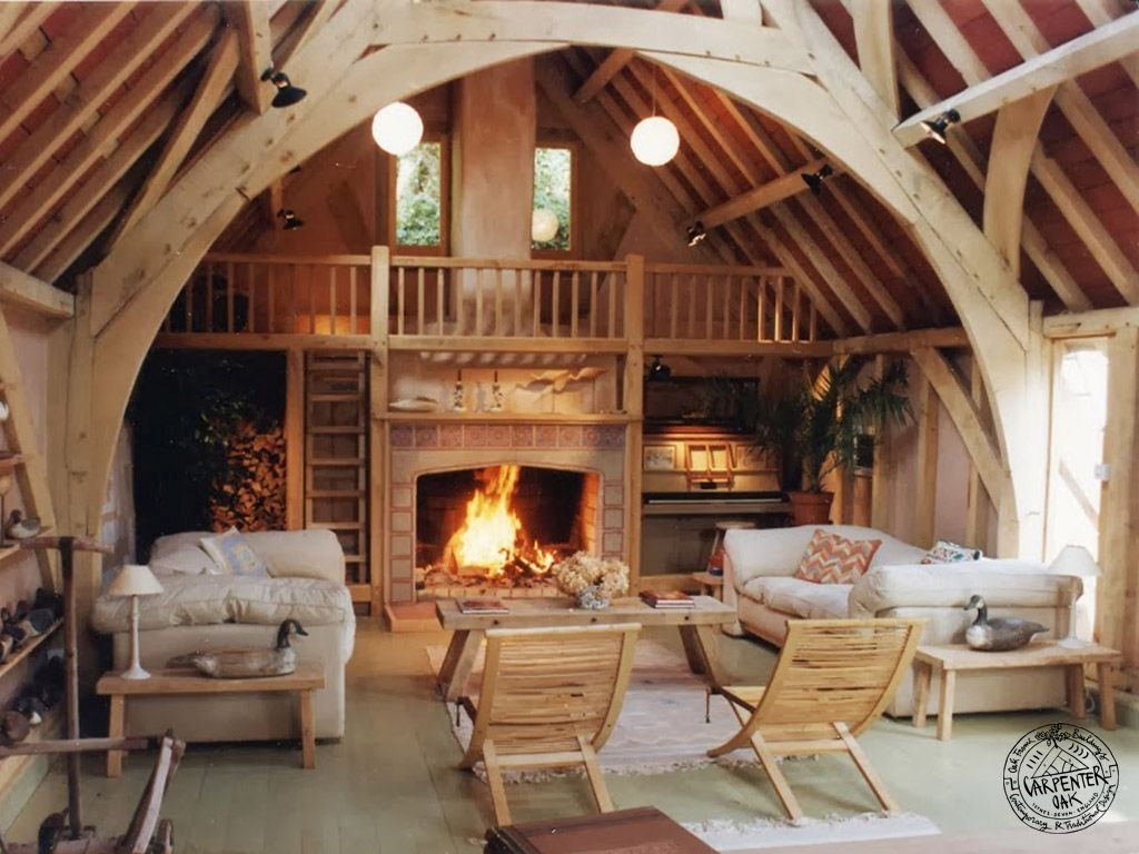 Converted Barn Room Interior with Green Oak Framed Arch Brace Collar Trusses and Gallery