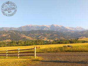 A view of the Montana mountains where Carpenter Oak built an oak framed house