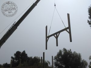 Oak frame parts being installed by crane
