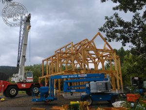 Oak frame raising in Montana