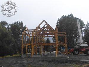 Oak frame building in Montana