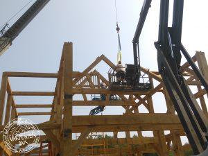 An oak frame being built