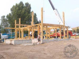 Montana oak frame under construction