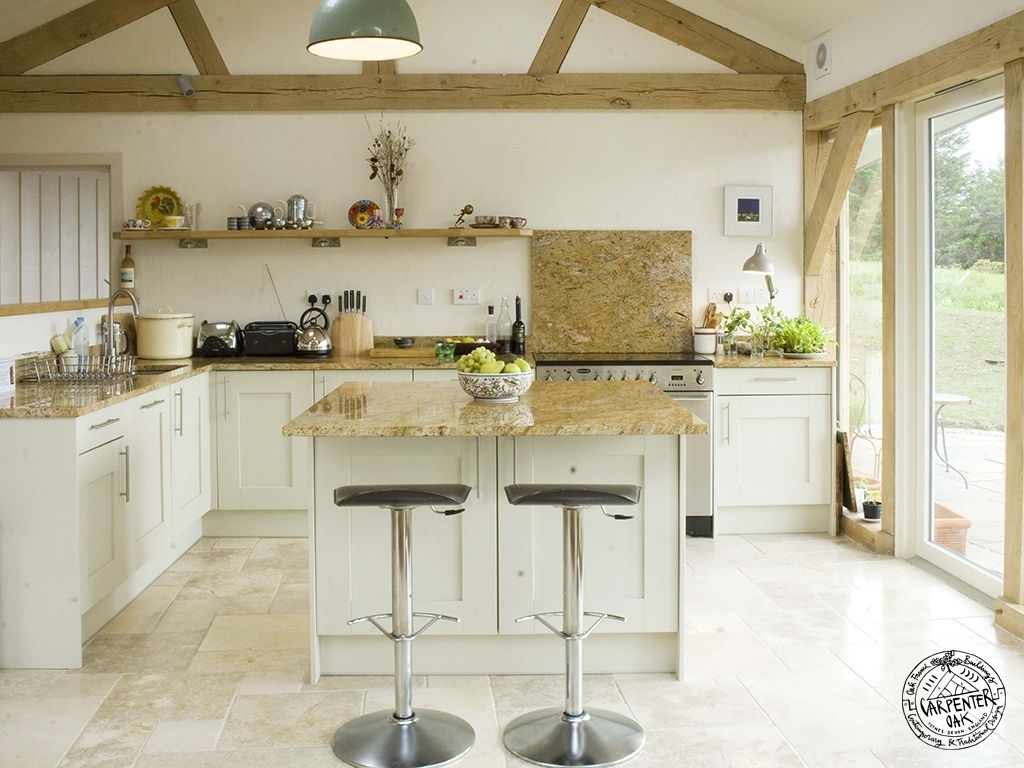 Facet Curved Green Oak Timber Framed Self Build House Kitchen Interior in West Scotland by Carpenter Oak Ltd Devon