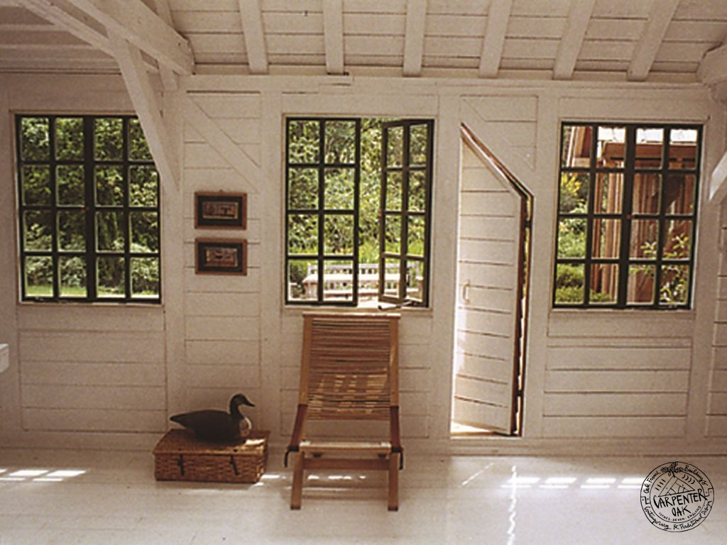 White Painted Softwood Horizontal Timber Clad Art Studio Interior