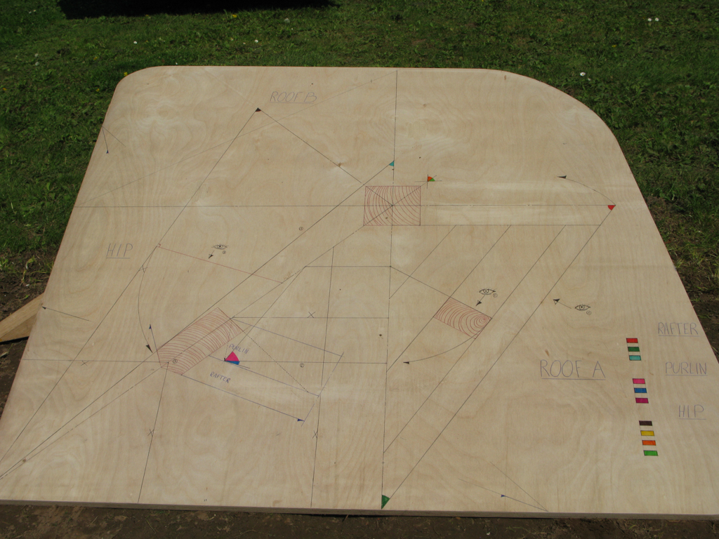 marked out design on wood of a complex roof layout
