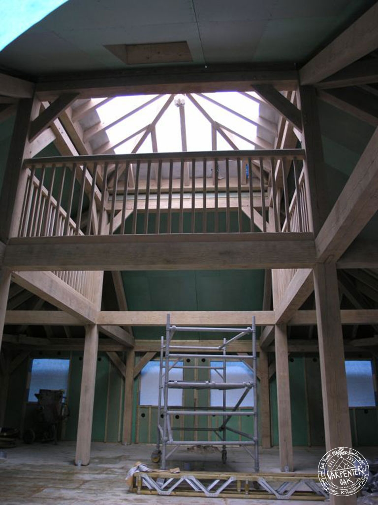 Oak Balcony and Exposed Primary Oak Frame of Brockwood Park School