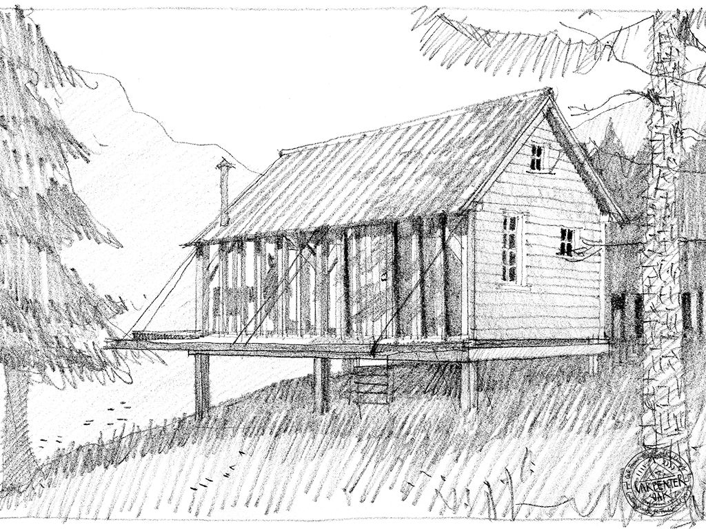 Roderick James Architects Sketch of Green Oak Timber Framed Foresters Cabin by Carpenter Oak Ltd Devon
