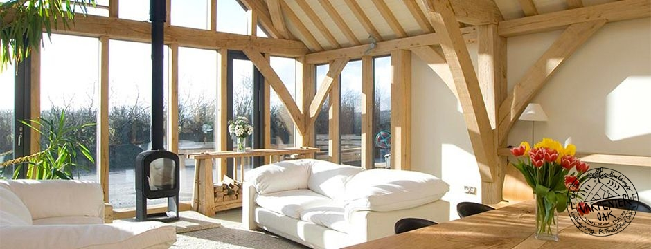 Interior of our Green Oak Framed Show Barn in Cornworthy by Carpenter Oak Ltd Devon