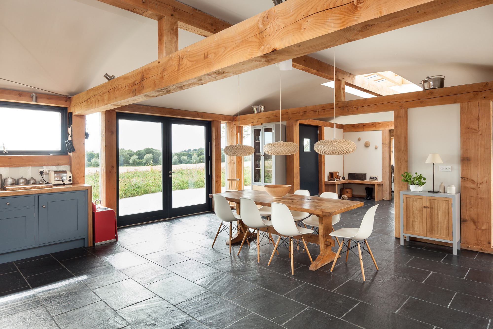allies farm kitchen with exposed oak frame beams