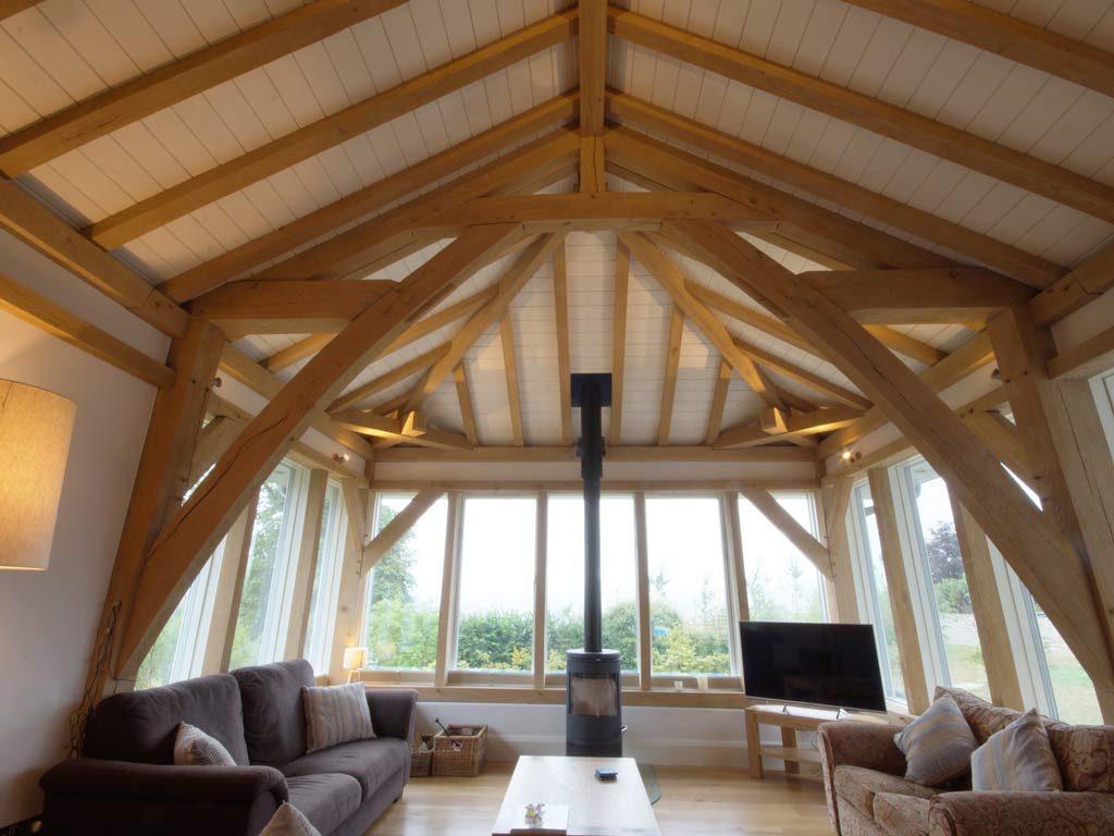 oak framed living room open house event