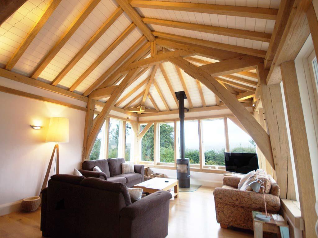 oak framed living room