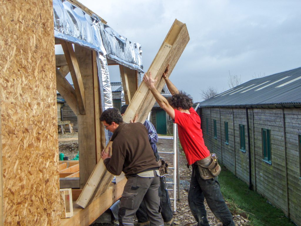 warmcell panels show barn carpenter oak