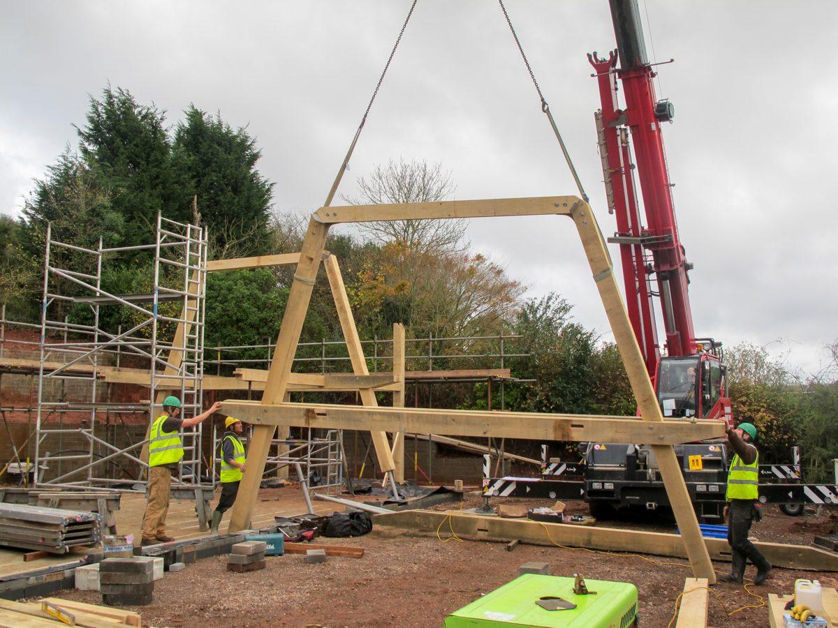 Frame raising Carpenter Oak Orchard House