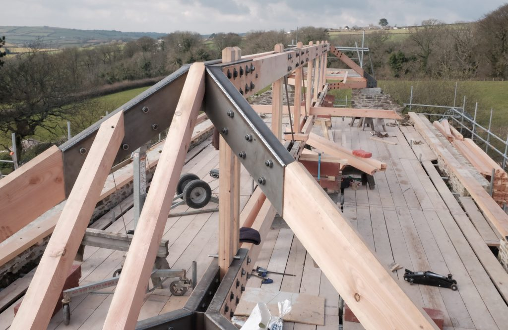 Redhill Barn Timber Frame During Construction