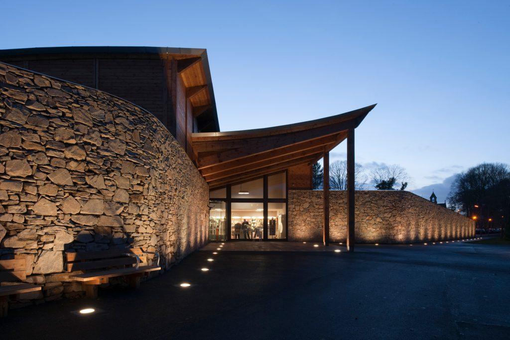 Robert Burns museum Carpenter Oak Scotland exterior at dusk