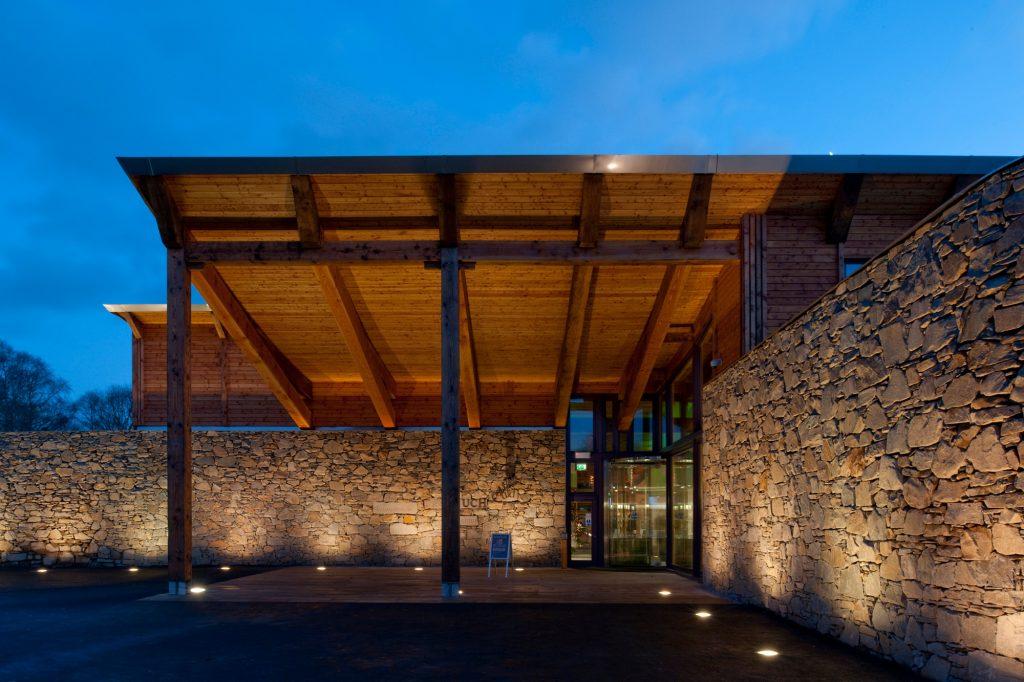 Robert Burns Museum Douglas Fir Frame uplights at dusk