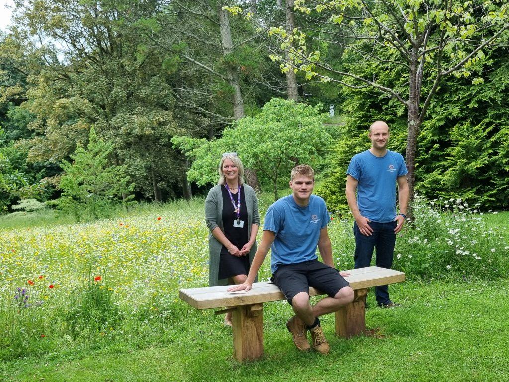 Carpenter Oak bench at Rowcroft Hospice meadow